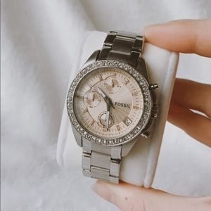 Silver Fossil Watch - Excellent Condition